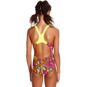speedo Electric Ball Allover Splashback Girls Lime Punch/Black/Electric Pink